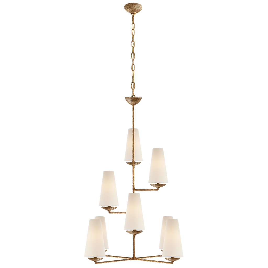 "The Fontaine Gilded Plaster Vertical Chandelier has a classy, layered look. The linen shades brings a warm light to any room  Height: 45.25"" Width: 34.25"" Canopy: 5"" Round"