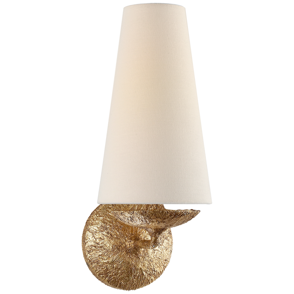 The linen shade of this Fontaine Single Sconce sheds a soft, warm glow. This looks gorgeous placed in a living room, hallway, or other area needing extra light.   Designer: AERIN