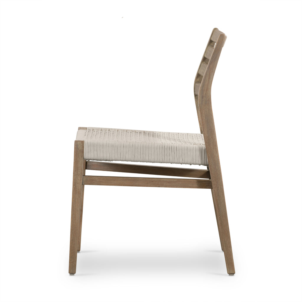 "This Audra Dining Chair is made from eucalyptus with a gorgeous woven rope seat. The slatted, arched back gives us all the mid-century vibes.  Overall Dimensions: 19.75""w x 22.50""d x 32.75""h Seat Depth: 17.75"" Seat Height: 18.25"" Materials: Solid Fsc® Eucalyptu, 98% Pp, 2% Pl"