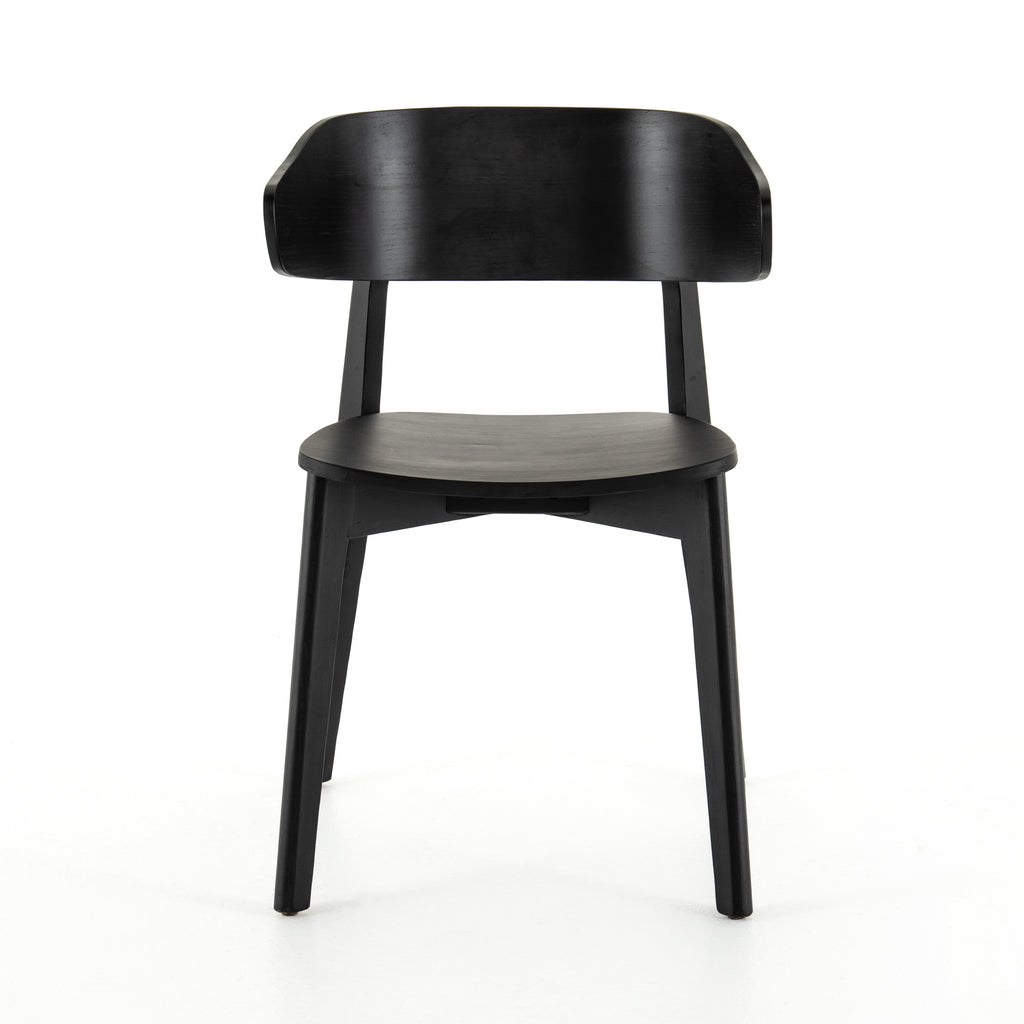 "We love the exaggerated winged back of this Franco Black Dining Chair. The jet balck finish brings a modern look to this mid-century style.   Overall Dimensions: 20.50""w x 19.25""d x 30.25""h Seat Depth: 16.25"" Seat Height: 18""  Materials: Ash Veneer, Solid Ash"