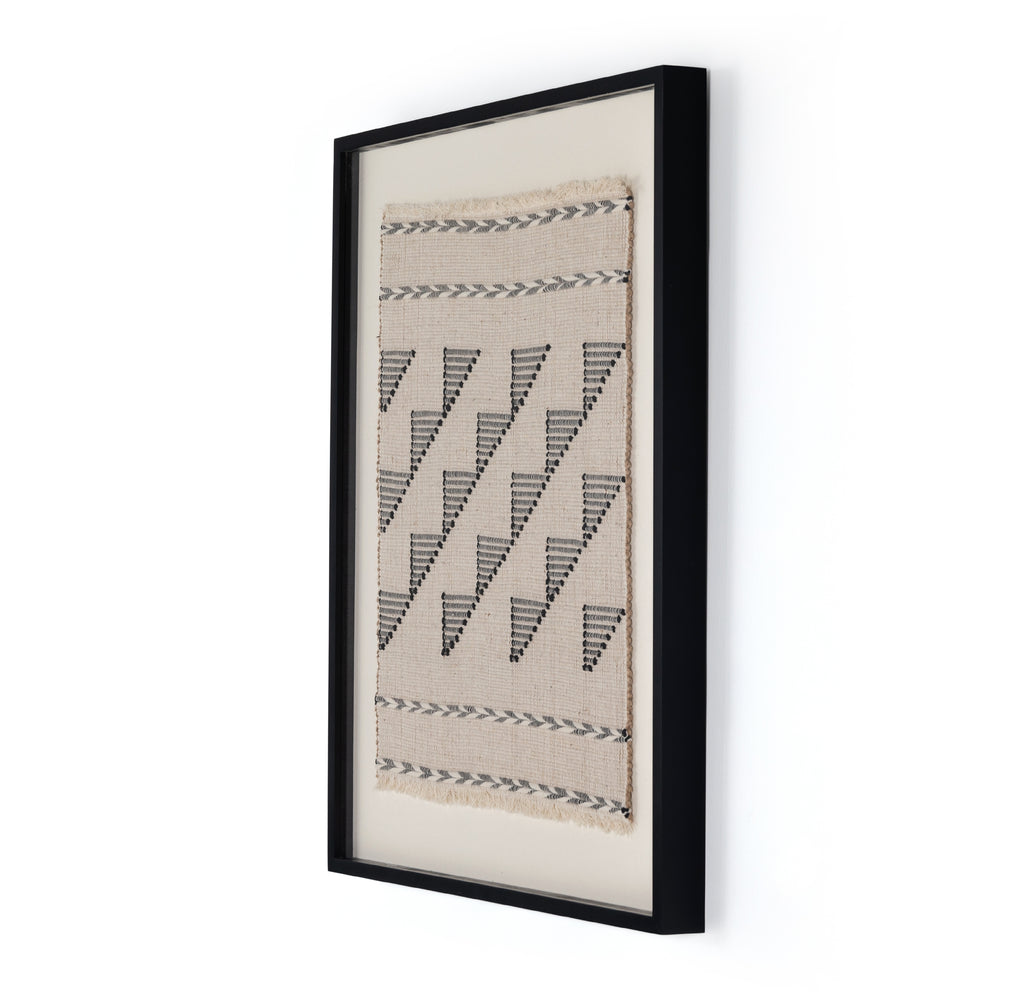 "We love the textured geometrics found in this Nalle Framed Textile Art. Hang over your sofa or in your entry way to complete the whole room. Black-finished American maple framing adds a museum-quality finishing touch.   Overall Dimensions: 34.00""w x 2.50""d x 40.00""h Materials: American Maple, 80%Ju,16%Co,4%Other  Handmade in Austin, Texas. This item is made to order in Austin, Texas and will ship within 1-2 weeks"