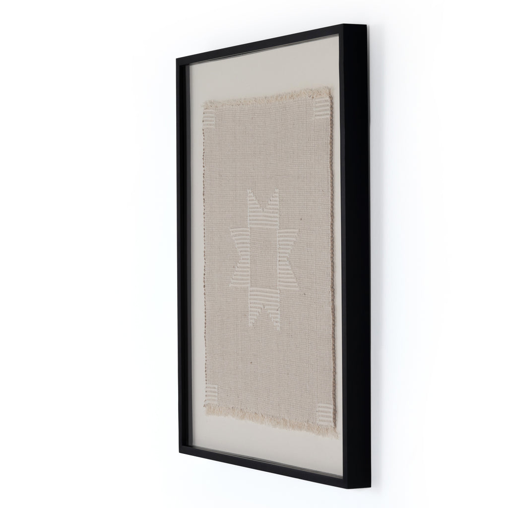 "We love the pattern and frayed edges found in this Nisha Framed Textile Art Hang over your sofa or in your entry way to complete the whole room. Black-finished American maple framing adds a museum-quality finishing touch.   Overall Dimensions: 34.00""w x 2.50""d x 40.00""h Materials: American Maple, 80%Jute, 16% Cotton, 4% Other  Handmade in Austin, Texas. This item is made to order in Austin, Texas and will ship within 1-2 weeks"