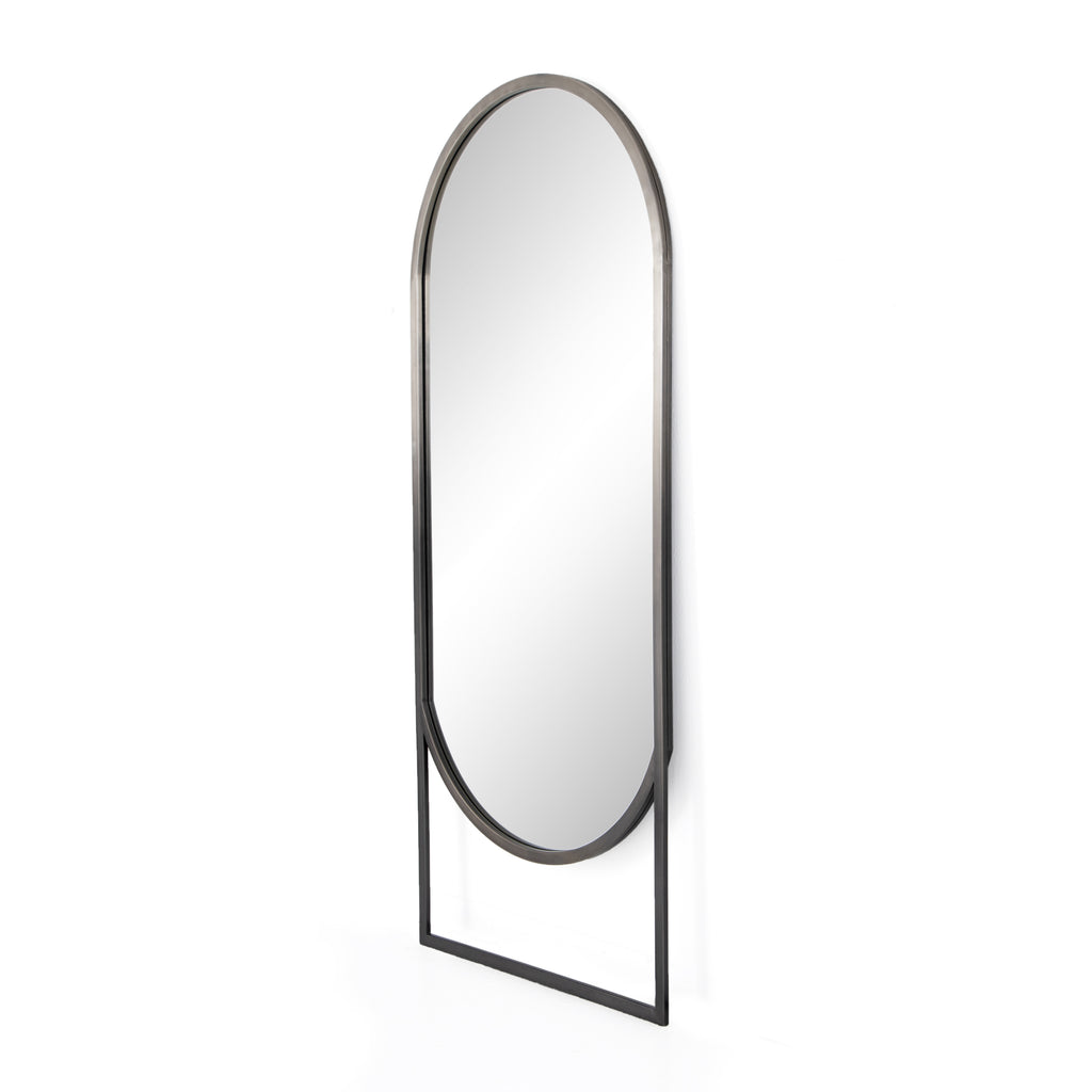 "Finished in an ombre pewter, this Dawson Floor Mirror has a dimensional beauty to it. Place in your bedrooom or entry and bring an elegant, sleek feel to the space.   Overall Dimensions: 30.00""w x 1.50""d x 70.00""h Colors: Ombre Pewter, Mirror Materials: Stainless Steel, Mirror"