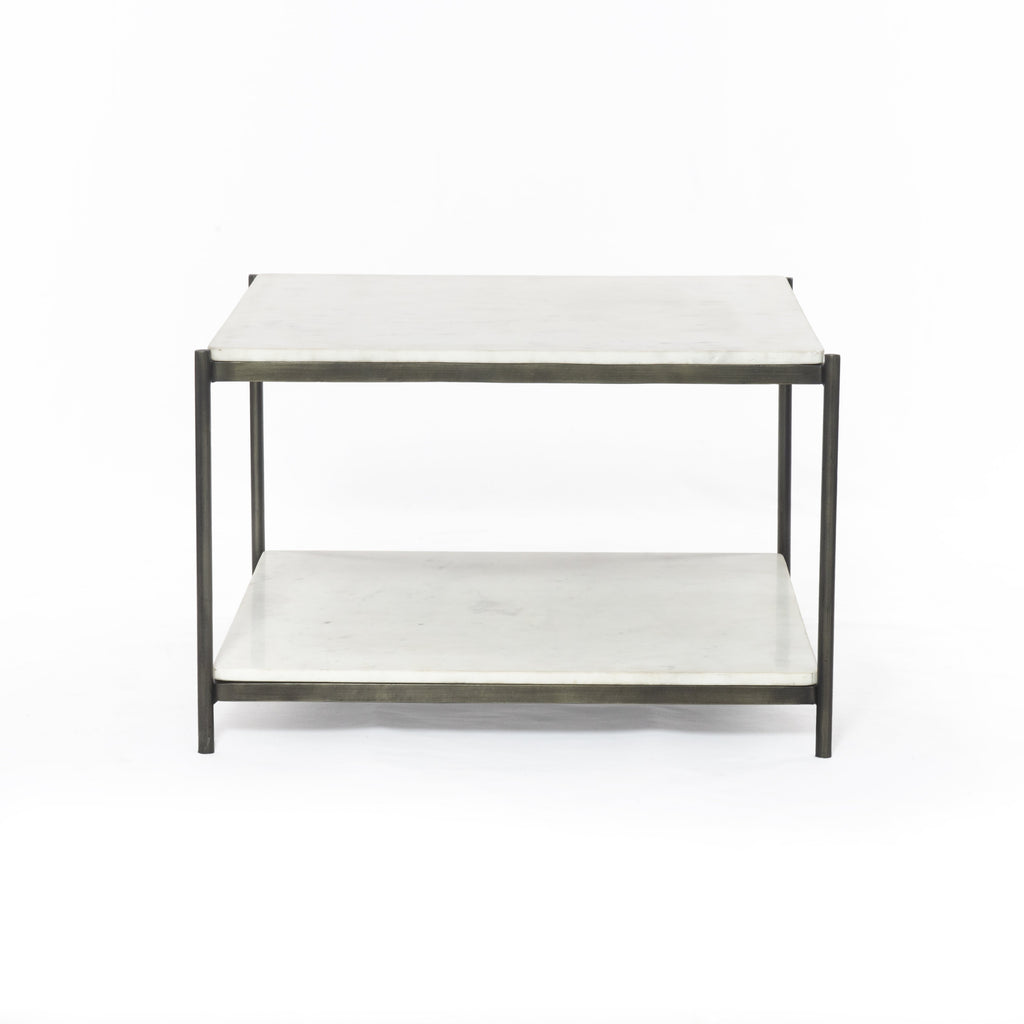 "We love the sophisticated look the marble paired with the iron frame brings to this Felix Hammered Grey Bunching Table. The bottom shelve is both functional and beautiful!  Overall Dimensions: 25.00""w x 25.00""d x 16.00""h Materials: Iron, Marble Weight: 90.39 lb"