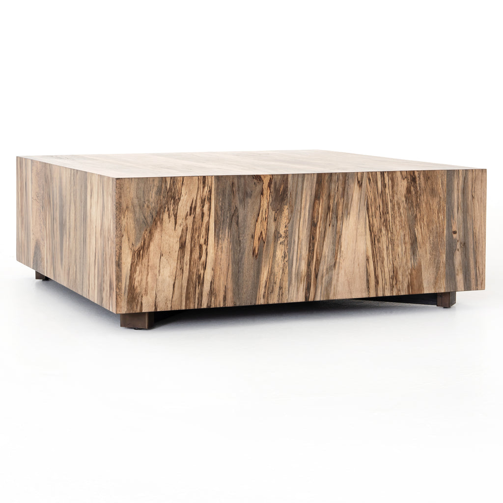 "We are obsessed with the spalted pimavera coloring of this Hudson Spalted Primavera Square Coffee Table. A stunning piece to add to any living room or loung area. Reflective of woods' natural character, a slight color variance is possible.  Overall Dimensions: 40""w x 40""d x 15""h Materials: Primavera, Iron"
