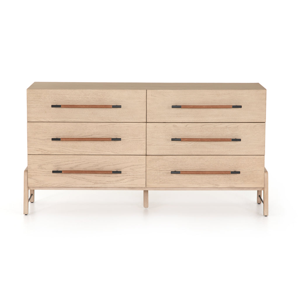 "The light-finished oak of this Rosedale 6 Drawer Dresser brings a clean, brightness to any room. With six spacious drawers and iron hardware wrapped in a gorgeous, tan leather,  this is a functional and beautiful piece to add to your bedroom or other area.   Overall Dimensions: 62.50""w x 19.50""d x 33.00""h Materials: Oak Veneer, Top Grain Leather, Iron, Solid Oak"
