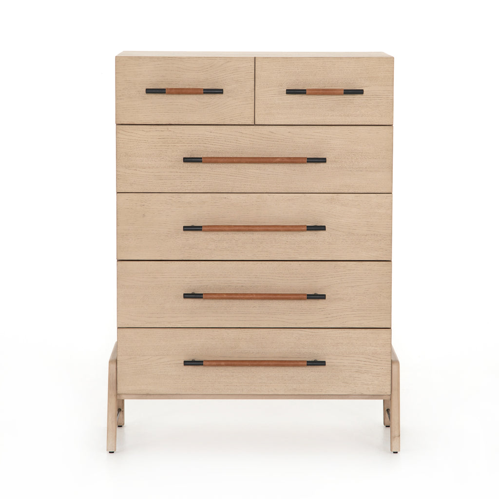 "The light-finished oak of this Rosedale 6 Drawer Tall Dresser brings a clean, brightness to any room. With four large drawers and two smaller drawers, this is a functional and beautiful piece to add to your bedroom or other area. The iron hardware wrapped in a gorgeous, tan leather really seals the deal!   Overall Dimensions: 36.50""w x 19.50""d x 49.25""h Materials: Oak Veneer, Top Grain Leather, Iron, Solid Oak"