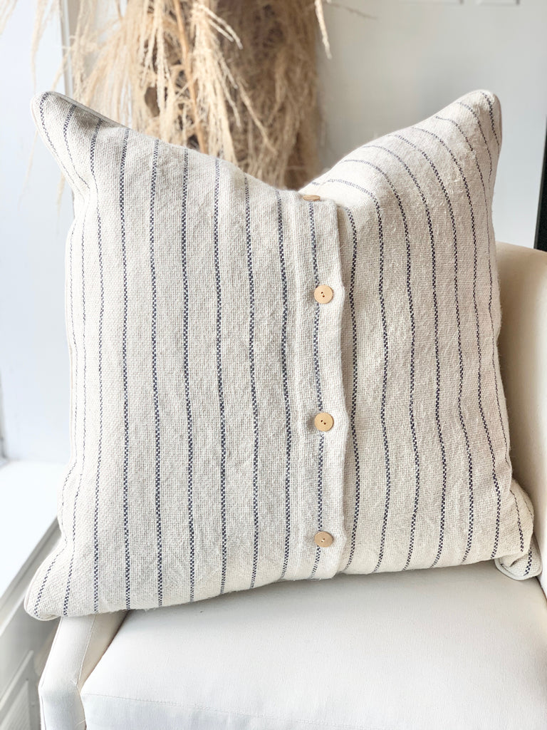 Maine Stripe Linen Pillow 26""