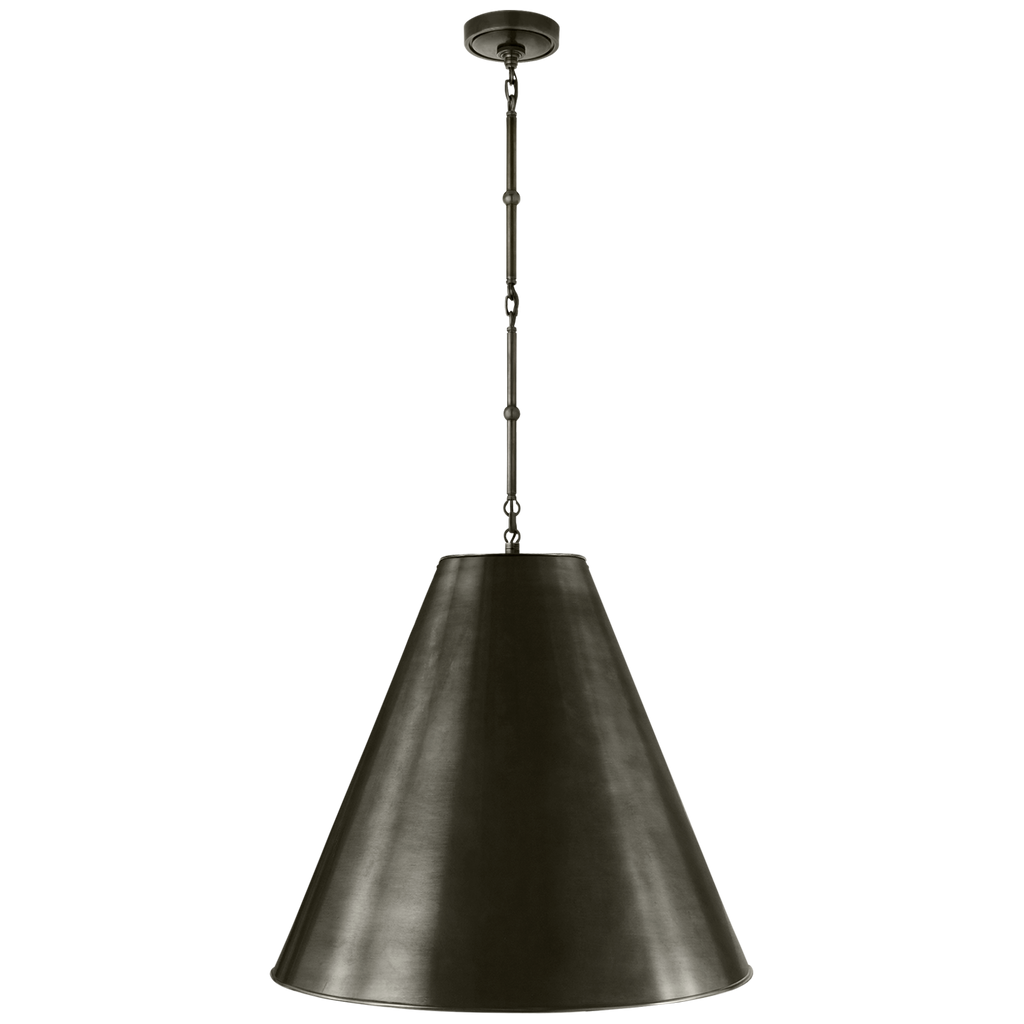 We love all the industrial vibes that come with this Goodman Large Hanging Lamp. Available in three different finishes, we would love to see this hanging over a kitchen island, sink, or other large area