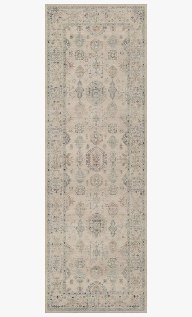 Featuring soft motifs in a carefully curated color palate of beige, ivory, and hints of black, the Hathaway Beige / Multi area rug captures the essence of one-of-a-kind vintage or antique area rug. This rug is ideal for high traffic areas such as living rooms, dining rooms, kitchens, hallways, and entryways.