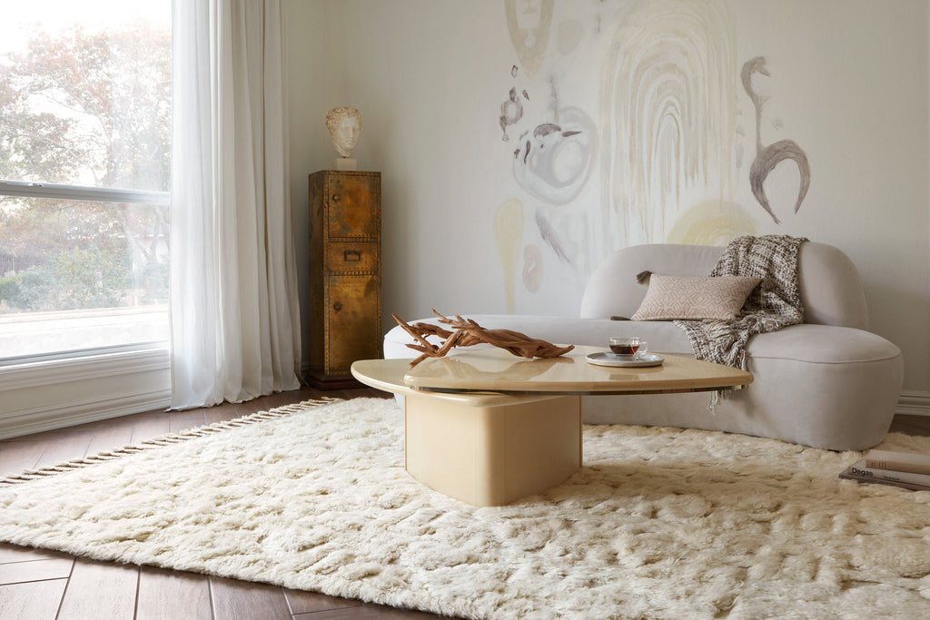 Hygge Oatmeal/Ivory Rug - Amethyst Home Inspired by Scandinavian textile motifs, the Hygge Collection combines a soft shaggy texture with an enduring neutral palette. Each piece is hand-loomed in India of 100% wool, ensuring long-wearing durability in even the busiest of rooms.