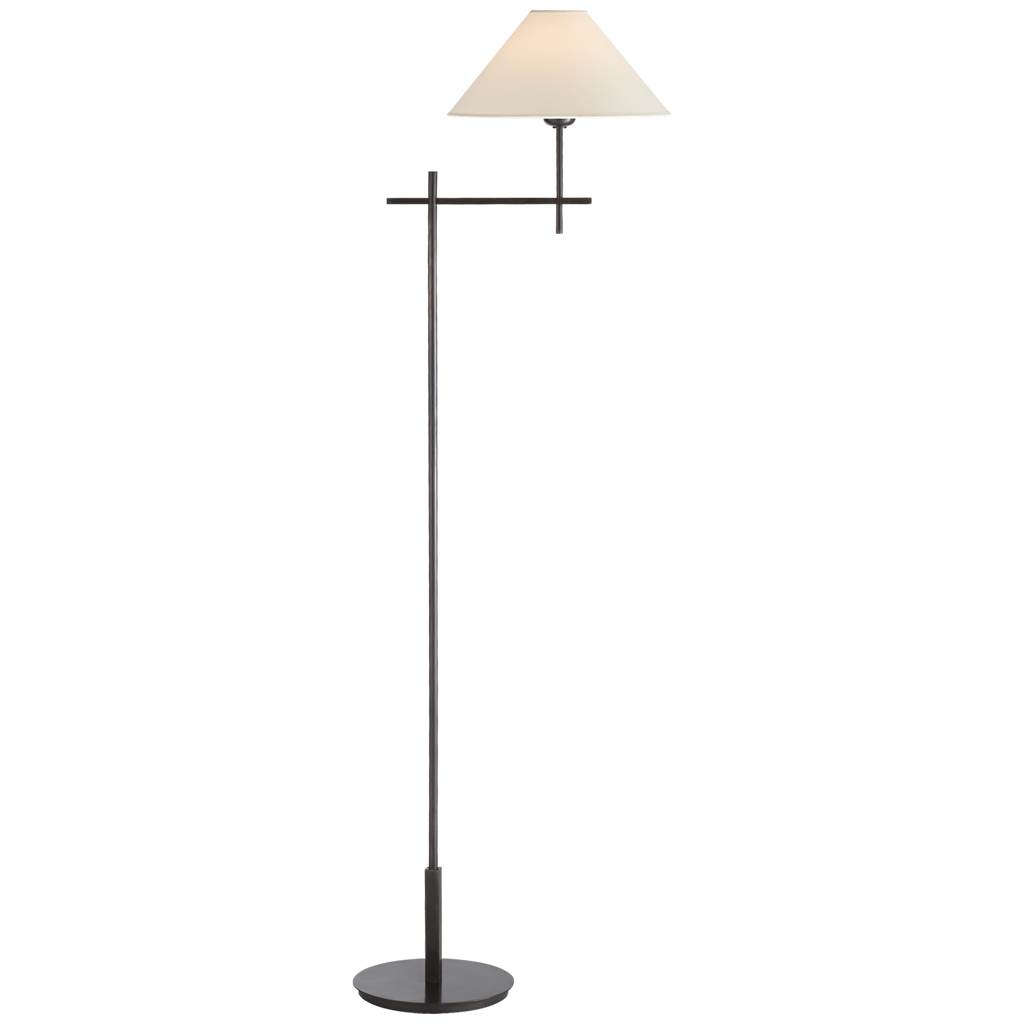 "We love the modern look of this Hackney Bronze Bridge Arm Floor Lamp. The tall neck and paper shade bring a soft, natural glow to any room  Height: 52"" Width: 11.75"" Extension: 17"" Base: 8.5"" Round"