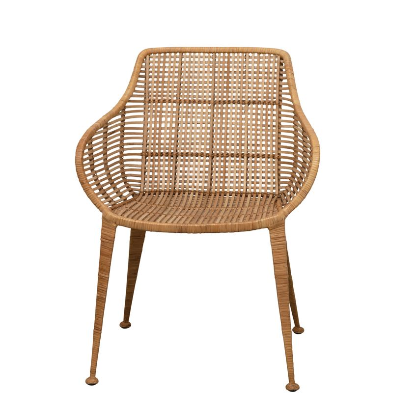 "This stunning Hand-woven Rattan Arm Chair brings a bohemian feel to any living room or office   Size: 23""w x 23.75""d x 31.5""h"