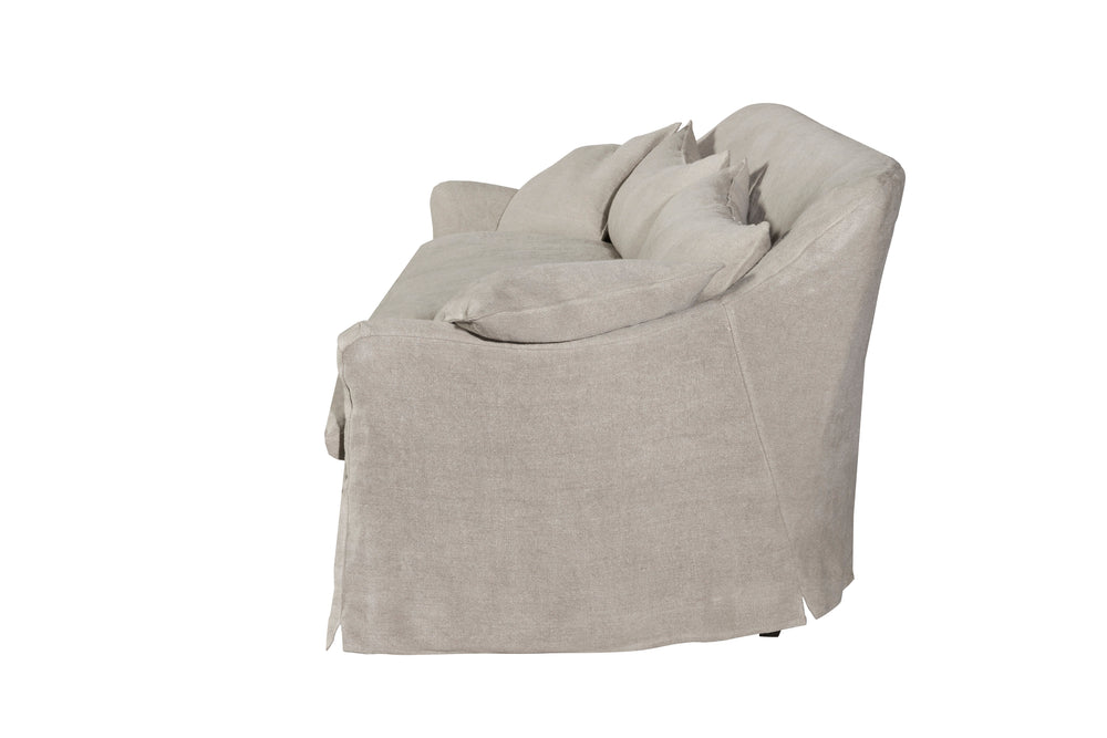 The slipcovered Hazel Sofa by Cisco Brothers comes with a down feather pillow top cushion. Made in LA with a 8 way hand-tied construction for irresistable comfort. As shown slipcovered in Quixote Oatmeal 100% linen. Available in 4 sizes: