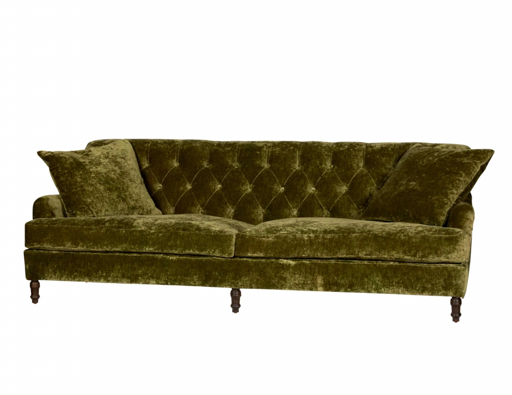 This romantic Henderson Upholstered Sofa Family by Cisco Brothers anchors your space with classic style elegantly appointed in this collection. The Henderson is a true style sophisticate with a button-tufted back and graceful curves. The Dimitri legs complete the look with beautiful detail. Photographed in Velluto Olive and Pierre Slate.