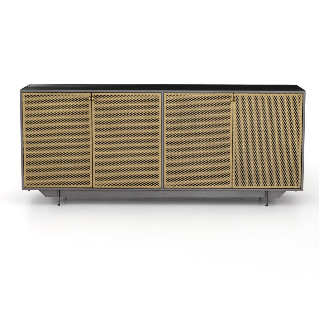 "The antique brass doors of this Hendrick Sideboard give a rich, unique look to any room. The shelves are perfect for storing away your cords, games, or other family necessities  Size: 73""w x 18""d x 30""h Materials: Brass, Iron"