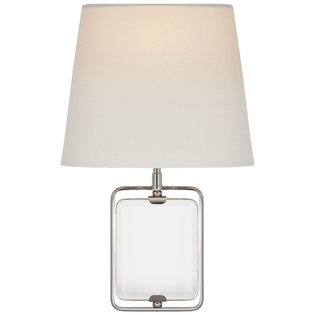 This Henri Framed Jewel Sconce by Visual Comfort is an absolute dream. The jewel gives it a unique look while the oval linen shade keeps it warm and classy Designer: Suzanne Kasler
