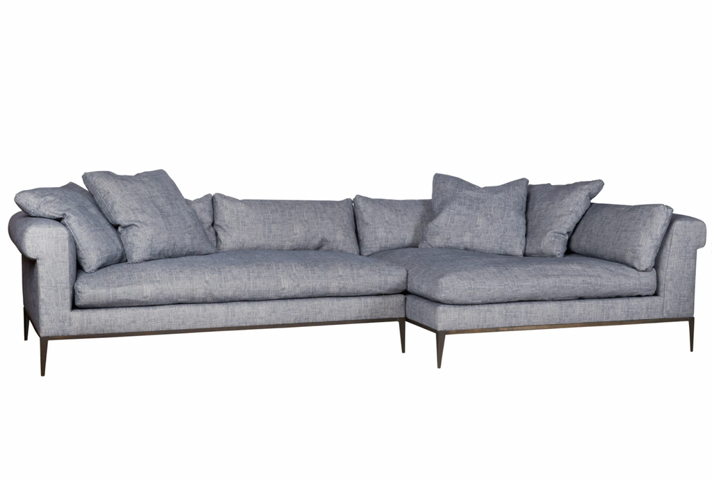 "The Henrietta Upholstered 2 pc Sofa by Cisco Brothers is the perfect centerpiece to your living room style. This modern sectional has a distinctive style, with elegant roll arms and metal black-rust legs. Update your space with this mid-century influenced piece.  Overall: 132""w x 60""d x 28""h"