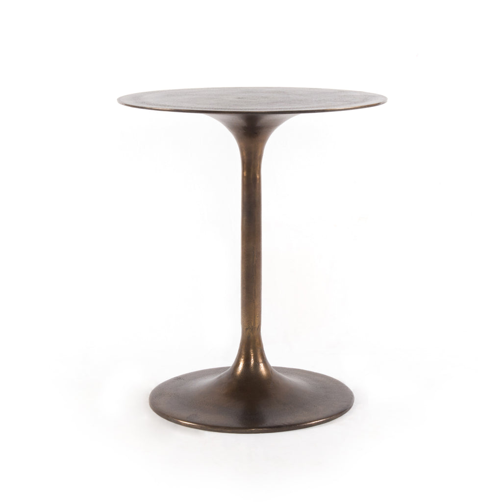 "Classic tulip shaping in textural cast-aluminum makes for a modern side table. Finished in antique rust to bring out alluring highs and lows. Great indoors or out — cover or store indoors during inclement weather and when not in use.  Overall Size: 20.00""w x 20.00""d x 23.50""h"