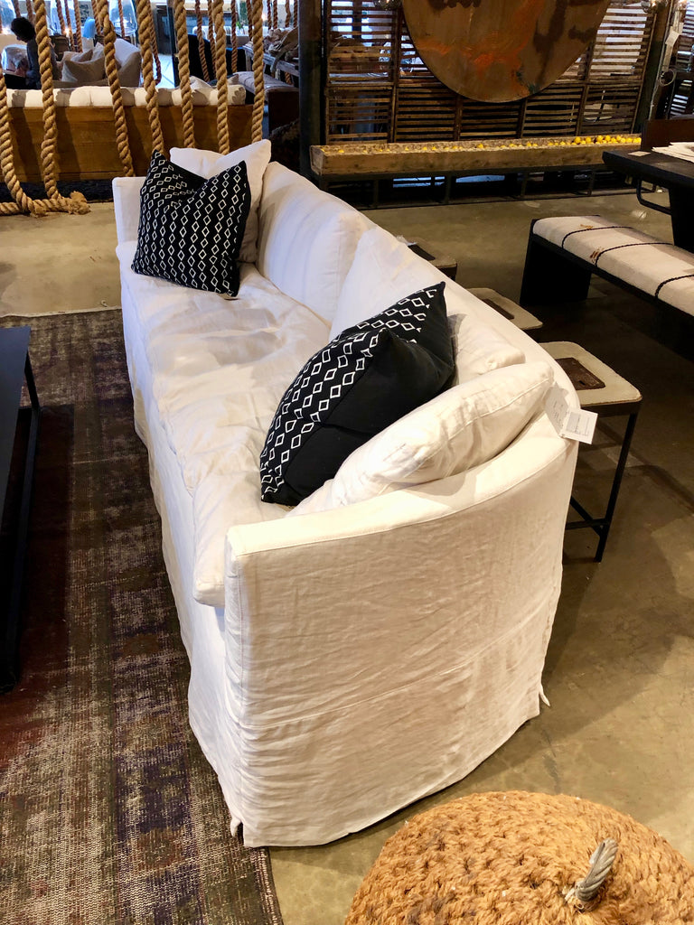 This cozy Havana Sofa from Cisco Brothers is a wonderful addition to any room. The sofa features a gorgeous rounded frame with a slight taper to the front. This was instant swoon when we saw this at market. This sofa is priced as shown in slipcover with Mariet White fabric.