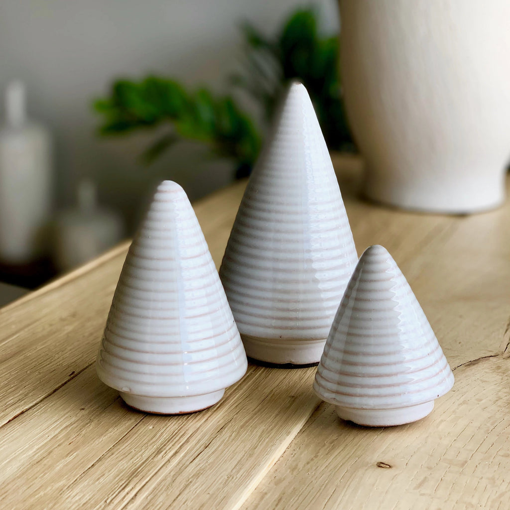 Set of Three White Ceramic Trees