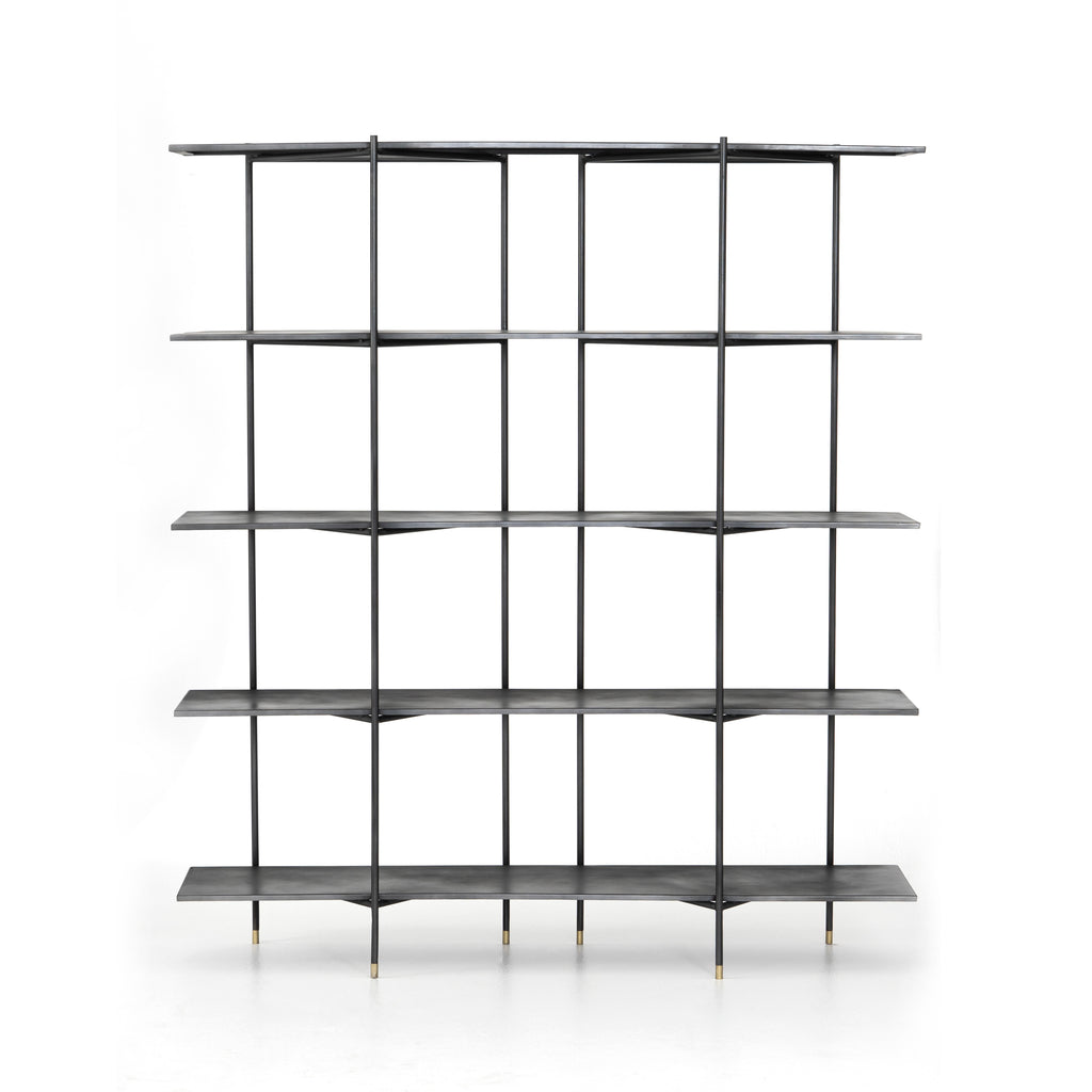 "Modern industrial design gets softened by fine lines with this Vito Bookshelf. Wide planks of distressed iron offer plenty of space for the display of books and treasured items. Brass-capped feet add a feminine finishing touch.  Available September 2020!  Overall Dimensions: 63""w x 16.5""d x 71""h Materials: Iron"
