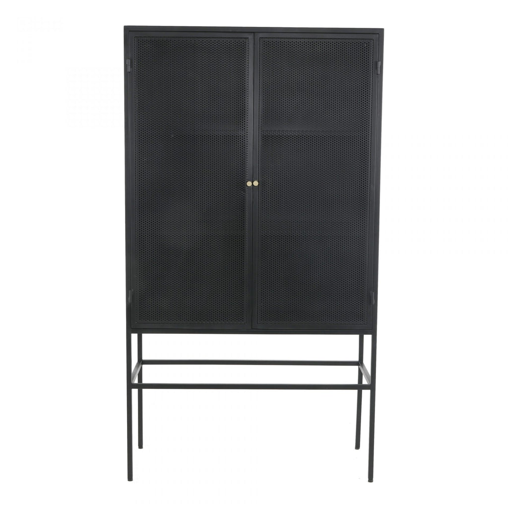 "The Isandros Cabinet gives us all the industrial vibes with its pure iron construction and dark finish. The tall doors and large shelving space make this a perfect choice for families needing extra storage space.   Size: 40""W x 18""D x 71""H Materials : Iron Cabinet and Frame"