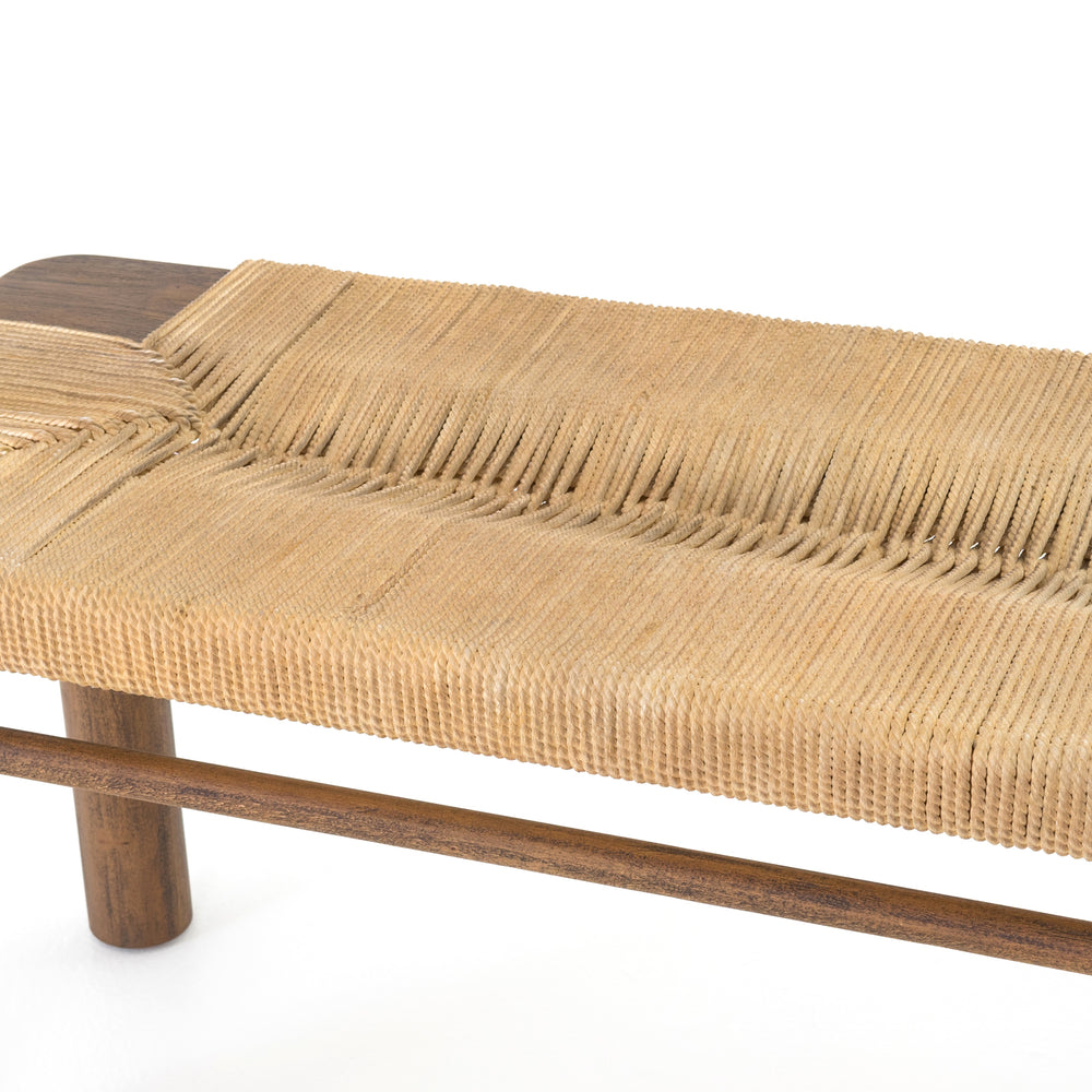"Natural in texture and tone. Russet mahogany framing strikes a low-profile pose as vintage cotton rope weaves for an ultra-organic seat reminiscent of its Indonesian roots.  Overall Dimensions: 60""w x 17.5""d x 19.5""h"