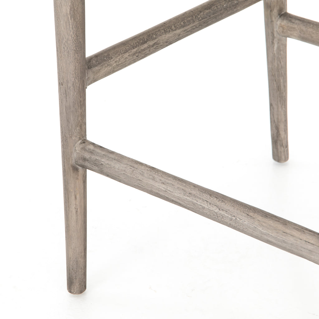 "Modern curves redefine the classic wishbone-style counter stool. Vintage white all-weather wicker is woven for a dose of fresh texture within weathered grey teak framing. Cover or store indoors during inclement weather and when not in use.  Pictured in Weathered Grey. Also available in Black Teak and Matte Sealed Teak.  Overall Size: 21.50""w x 22.50""d x 38.50""h Seat Depth: 18.25"" Seat Height: 26.50"""