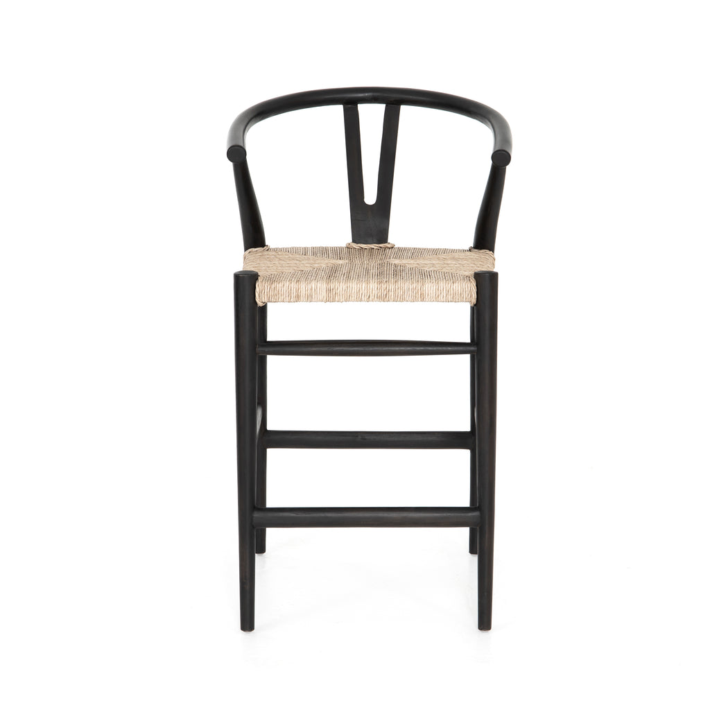 "Modern curves redefine the classic wishbone-style counter stool. Vintage white all-weather wicker is woven for a dose of fresh texture within weathered grey teak framing. Cover or store indoors during inclement weather and when not in use.  Pictured in Black Teak. Also available in Weathered Grey and Matte Sealed Teak.  Overall Size: 21.50""w x 22.50""d x 38.50""h Seat Depth: 18.25"" Seat Height: 26.50"""