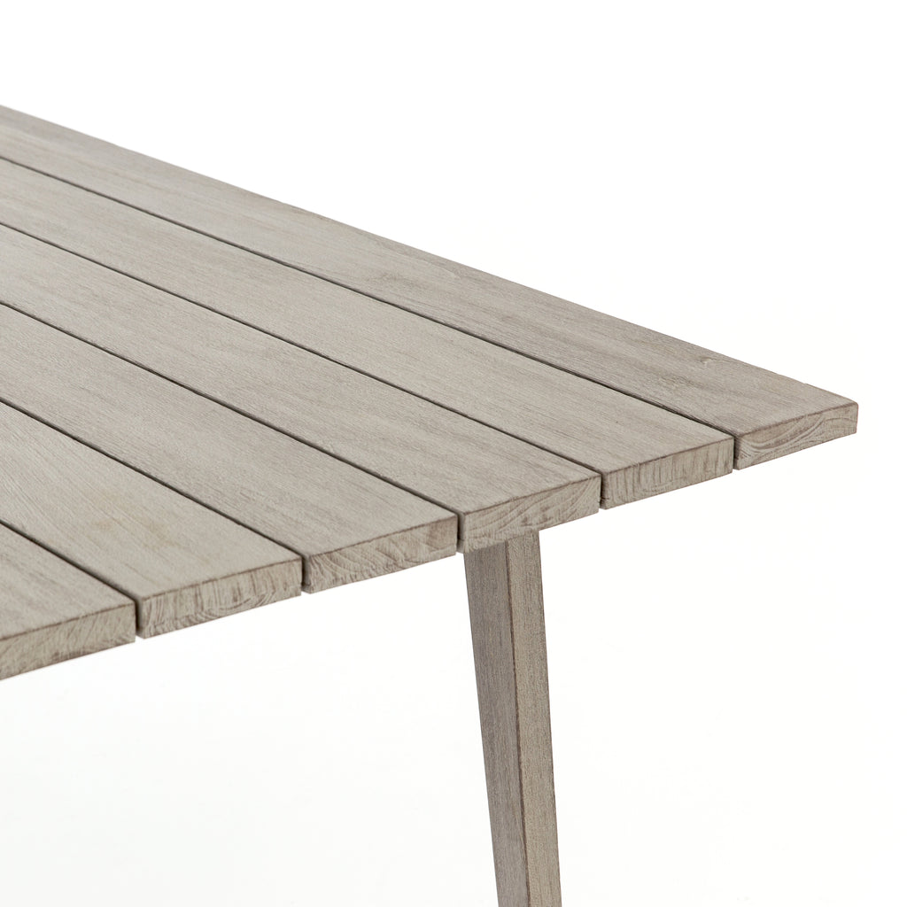 Trend-forward appeal, indoors or out. Clean lines, X frames and palatable neutral tones boost the versatility of living and dining styles, with natural teak standing front and center.