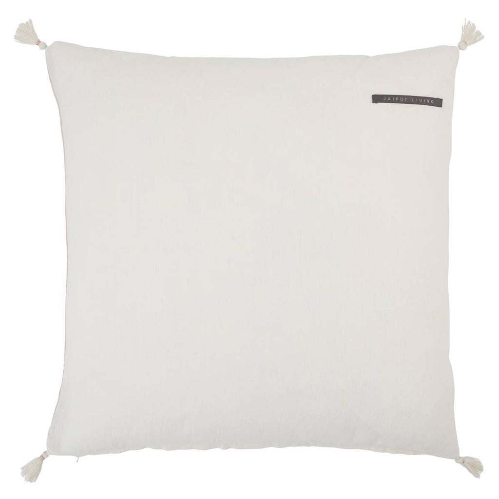 "The Joya Pillow has cute tassels found on all four corners with a cute, detail stripe found in the middle. Place on your bed or sofa, this rose dust colored pillow will bring the whole room some texture and pop of color. Insert is made with 100% down.   Size: 22"" x 22""  100% Linen Zipper Closure India  Professional Cleaning Recommended"