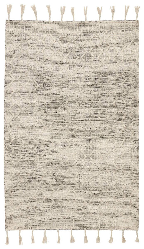 The Calixta Alemeda Area Rug by Jaipur Living, or CAX04, features a classic cream colorway with interwoven black yarns for added dimension and depth. The raised boucle chevron motif and braided fringe details lend a global vibe to this handcrafted rug. A beautiful rug for the entry way or other high traffic area.
