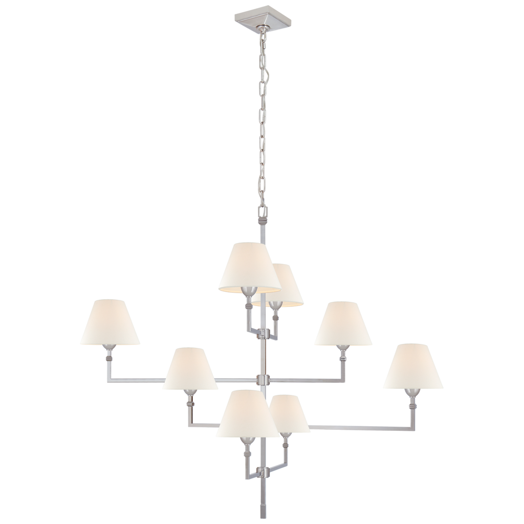 The gorgeous layers of linen shades on this Jane Large Offset Chandelier make it a classic, elegant piece to add to any living room, dining room, or other large area  Designer: Alexa Hampton