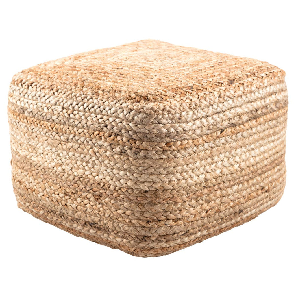 "This square pouf offers natural, organic-inspired style to living rooms and bedrooms. With a braided weave of jute, this texture-rich accent lends a global yet perfectly neutral look.  18""w x 18""d x 12""h 100% Jute India"