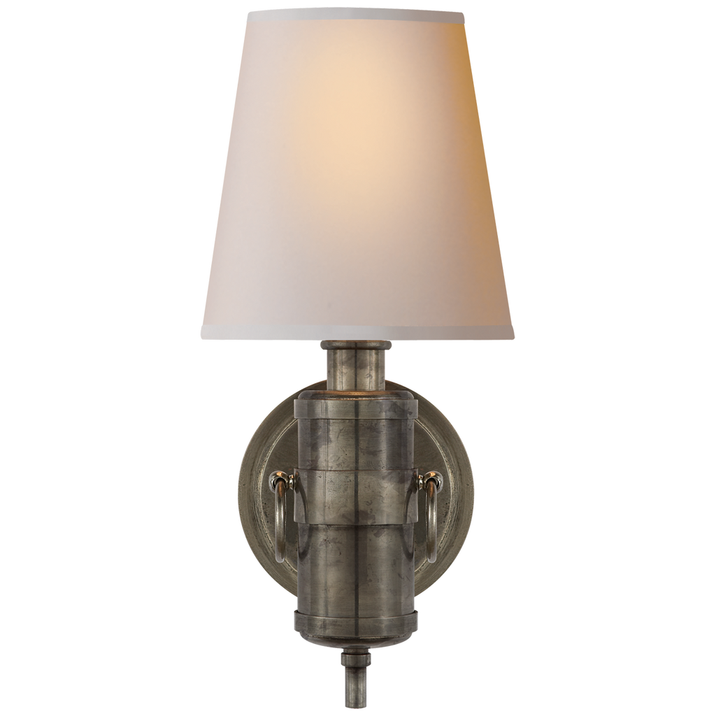 We love the antique feel of this Jonathan Sconce by Visual Comfort. The natural paper shade sheds a soft, warm glow perfect for your bedroom, hallway, or other area needing extra light  Designer: Thomas O'Brien