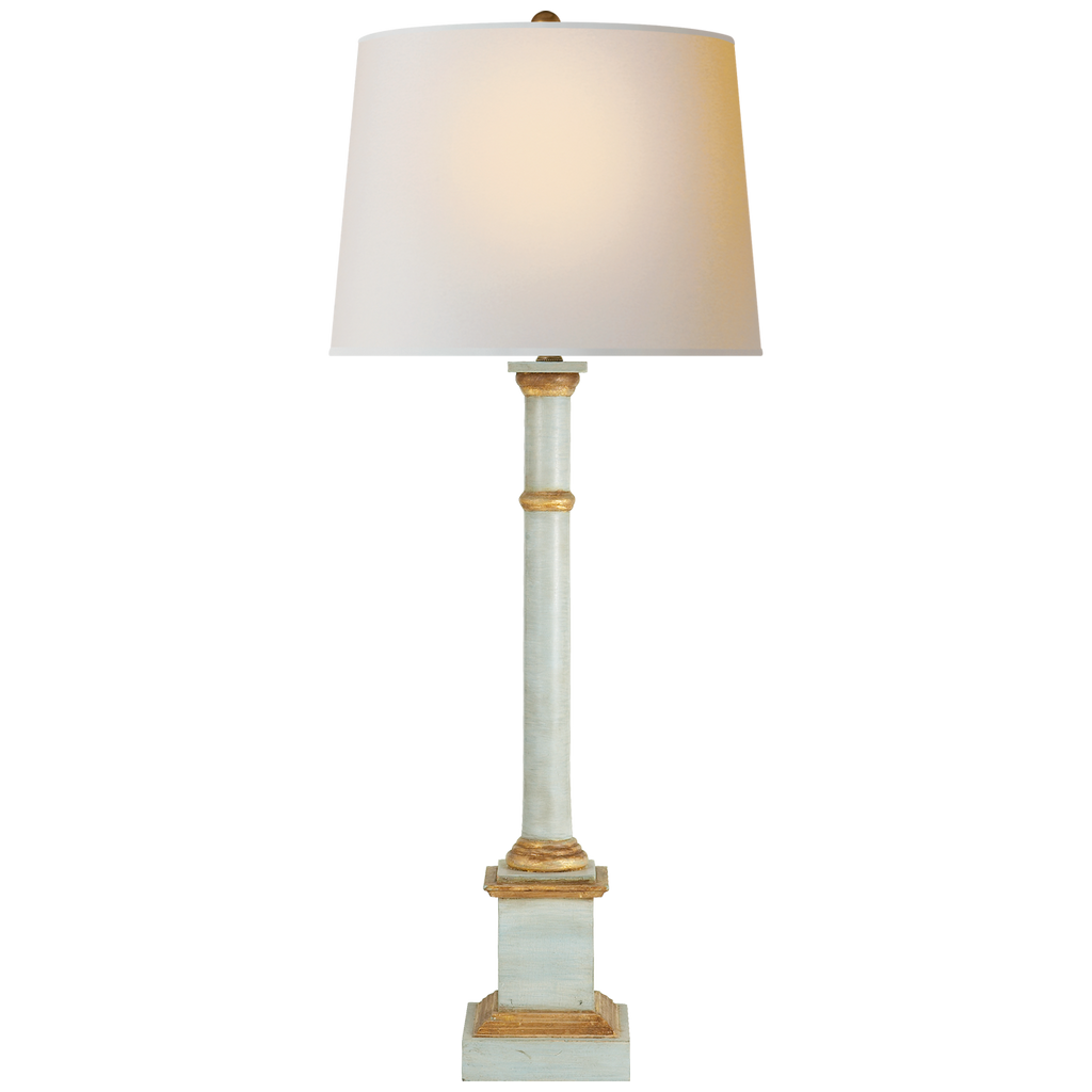The Josephine Table Lamp by Visual Comfort features a dimmer knob and has the natural paper shade that sheds a warm light. The detailed base and antique finishes makes this a perfect choice to place atop your favorite end table in your bedroom, living room, or other area needing extra light  Designer: Suzanne Kasler