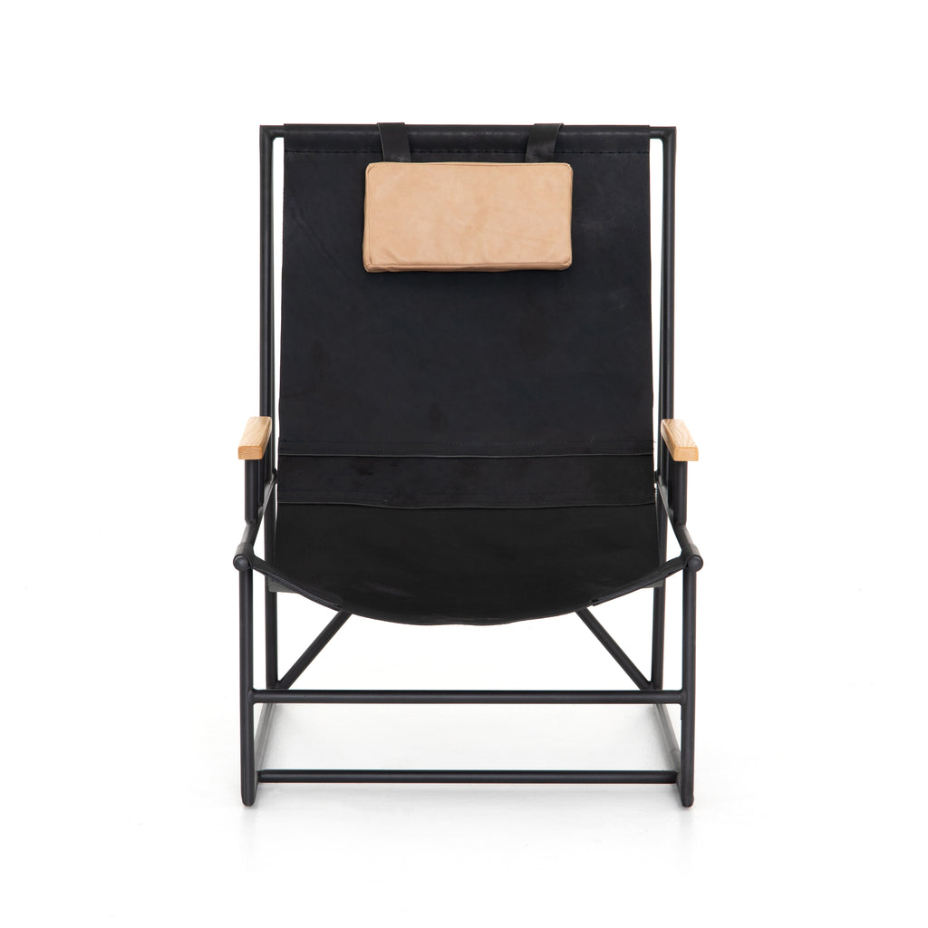 "Cool, loungy, and low-slung -  this Judson Ebony Natural Sling Chair is a must have. We love the tan pop of color found in the arms and the removable leather head rest. This would look gorgeous in any modern living room or bedroom.  Overall Dimensions: 25.00""w x 35.50""d x 36.00""h Seat Depth: 19"" Seat Height: 14.5"" Arm Height from Floor: 19"" Arm Height from Seat: 4.5""  Materials: Ash, Top Grain Leather, Iron, Top Grain Leather"