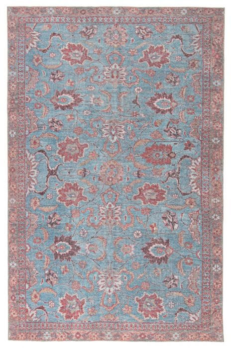 The Kindred collection melds the timelessness of vintage designs with a modern, livable style. The Ravinia area rug boasts a vivid Oushak pattern in stunning blue, red, and pink tones. This low-pile rug is made of soft polyester and features a one-of-a-kind antique rug digitally printed design.  Power Loomed 100% Polyester KND02 Kindred Ravinia Rug
