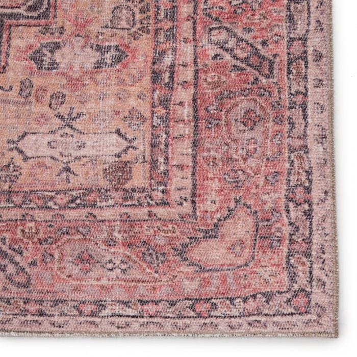 The Kindred collection melds the timelessness of vintage designs with a modern, livable style. The Cosima area rug boasts a softly faded tribal medallion and floral accents in contemporary colors of deep purple, pink, and tan. This low-pile rug is made of soft polyester and features a one-of-a-kind antique rug digitally printed design.  Power Loomed 100% Polyester KND06 Kindred Cosima Rug
