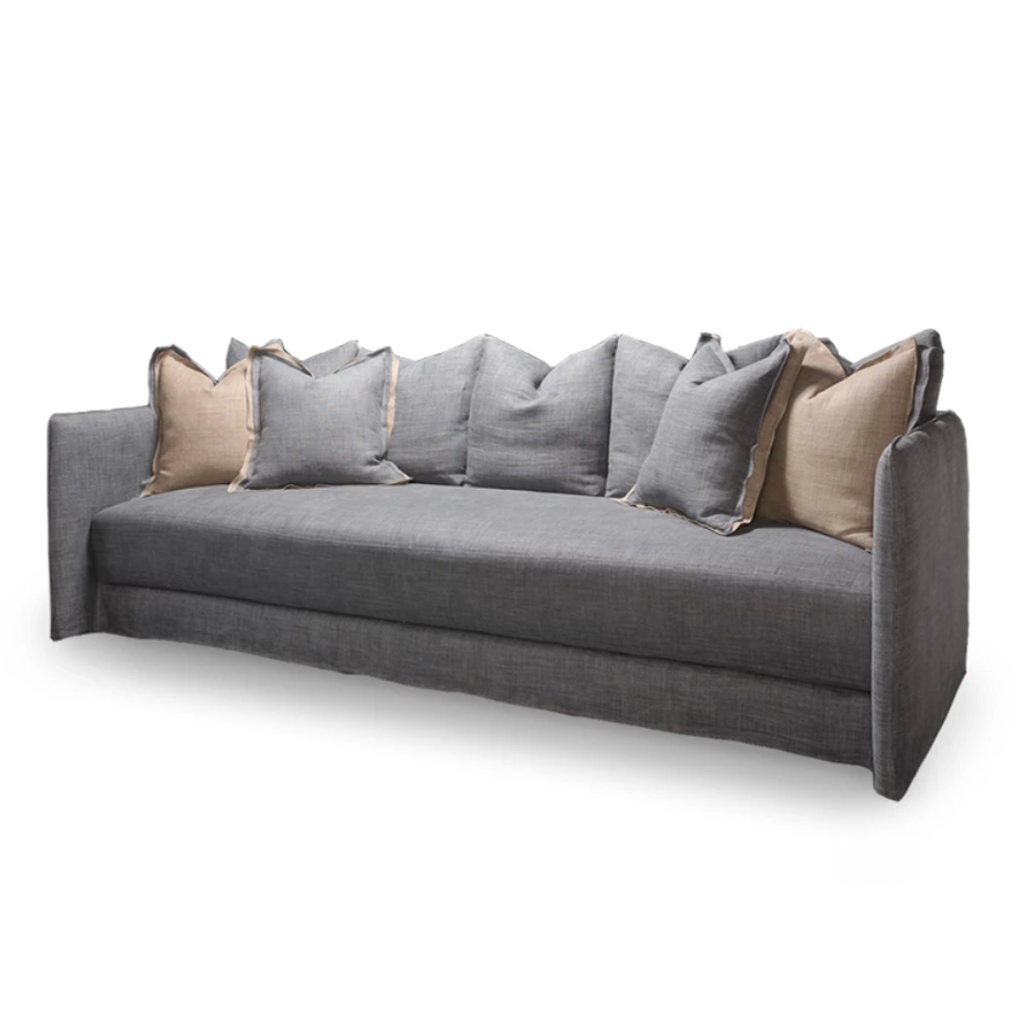 "The Kate Sofa by Verellen is a modern-lovers dream!  The exaggerated high arms and juicy, spring down cushion are the ultimate in comfort. Removable multi-back down-filled pillows can be personalized to your liking. Shown in a heavy duty laundered casual linen. Extra deep with a moderately low seat height.  • Overall Height: 30"" • Arm Height: 30"" • Seat Height: 16.5"" • Exterior Depth: 44"" • Seat Depth: 27"" • Interior Depth: 37"""