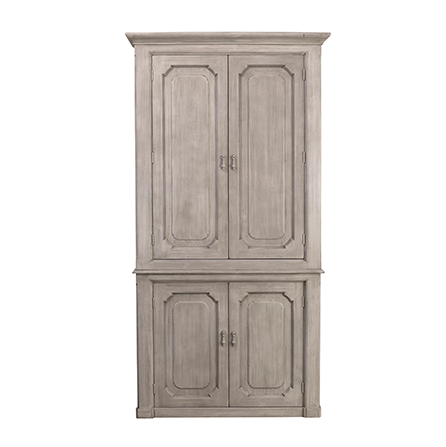 "Made from recycled white pine, we love the rustic feel the Kristy Cabinet has. The many shelves make this a functional, gorgeous family piece for any dining room or kitchen area.  RECYCLED WHITE PINE GREY WHITE WATER BASED SEALED FINISH Size: 47""l x  18""d x 91""h]"