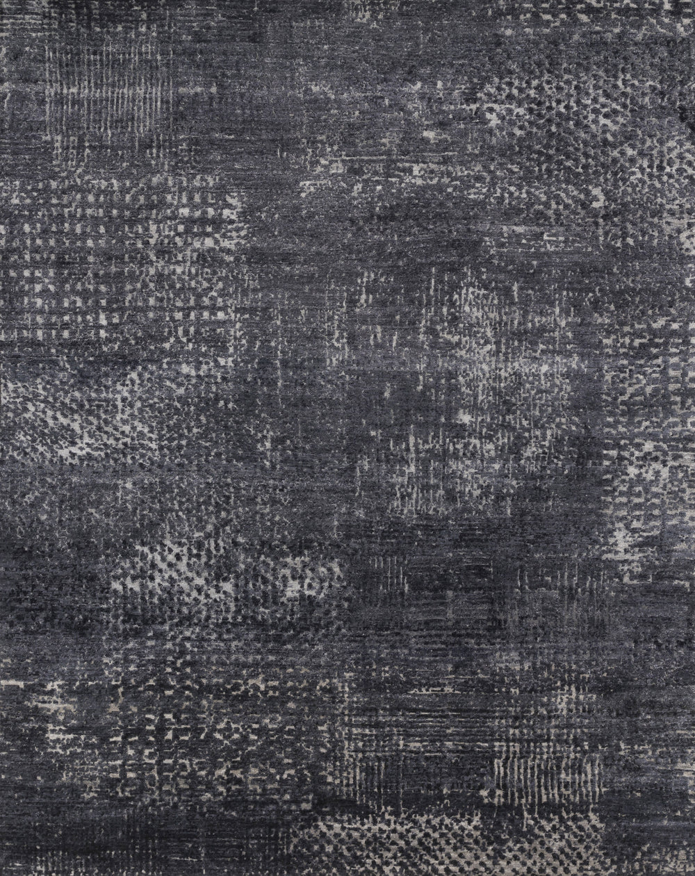 "Laiza Charcoal/Silver Rug - Amethyst Home Hand-knotted in India of wool and viscose, the Laiza Collection is an abstract expression of pattern that continually shifts tones in the light. Available in a large size range up to 11'6"" x 15'."
