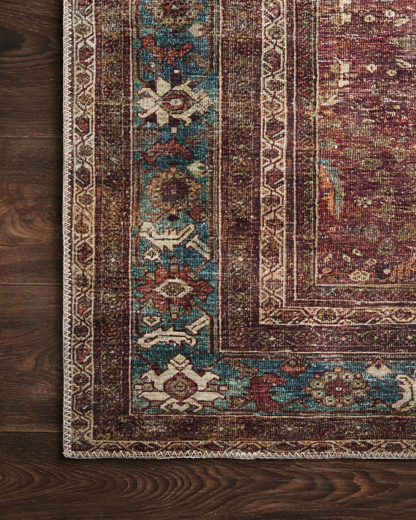 The Layla Collection is traditional and timeless, with a beautiful lived-in design that captures the spirit of an old-world rug. This traditional power-loomed rug is crafted in China of 100% polyester with a classic and sophisticated color palette and subtle patina.  Power Loomed 100% Polyester LAY-01 Brick/Blue