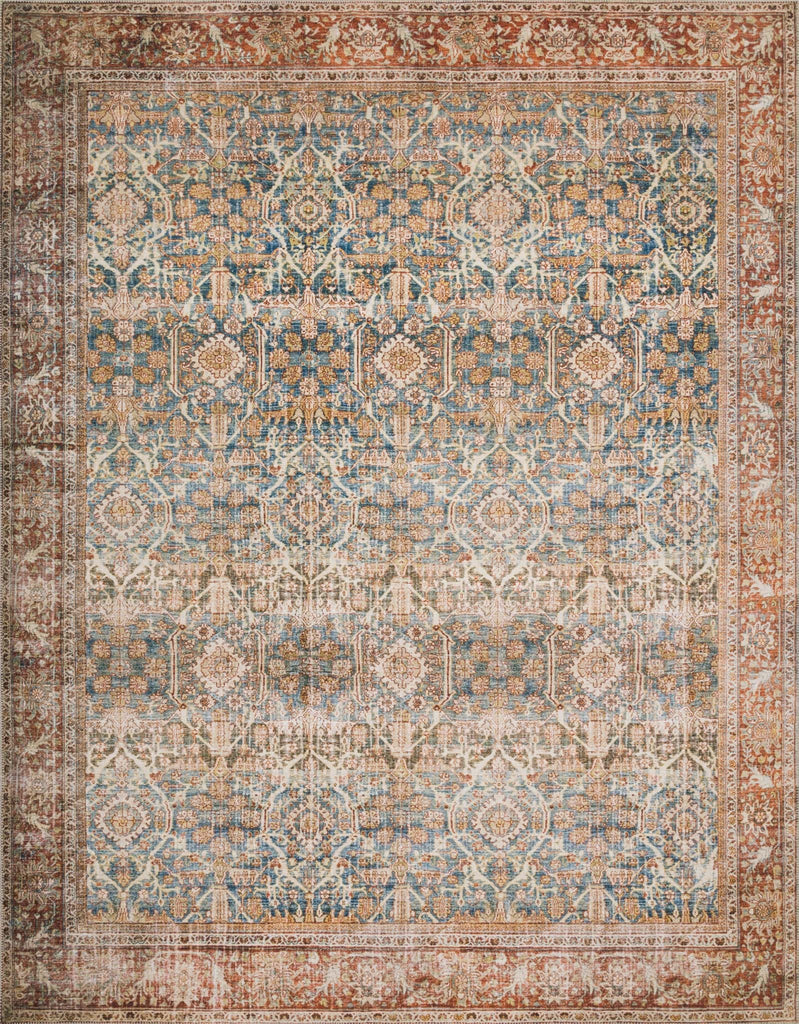 Layla Ocean/Rust Rug - Amethyst Home The Layla Collection is traditional and timeless, with a beautiful lived-in design that captures the spirit of an old-world rug. This traditional power-loomed rug is crafted of 100% polyester with a classic and sophisticated color palette and subtle patina.