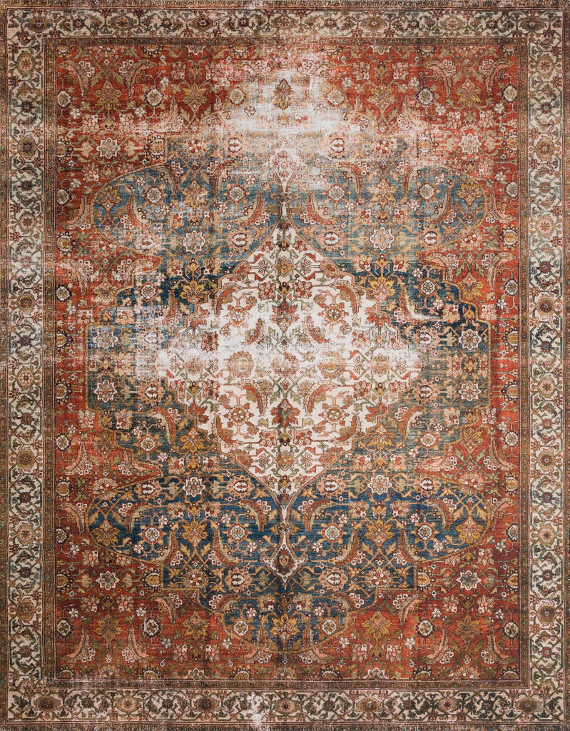 The Layla Collection is traditional and timeless, with a beautiful lived-in design that captures the spirit of an old-world rug. This traditional power-loomed rug is crafted in China of 100% polyester with a classic and sophisticated color palette and subtle patina.  Power Loomed 100% Polyester LAY-05 Ocean/Multi