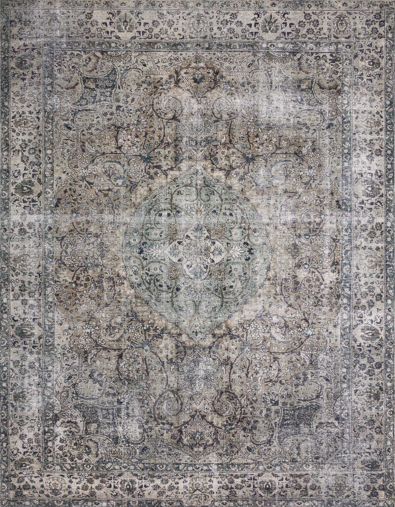 Layla Taupe/Stone Rug - Amethyst Home The Layla Collection is traditional and timeless, with a beautiful lived-in design that captures the spirit of an old-world rug. This traditional power-loomed rug is crafted of 100% polyester with a classic and sophisticated color palette and subtle patina.