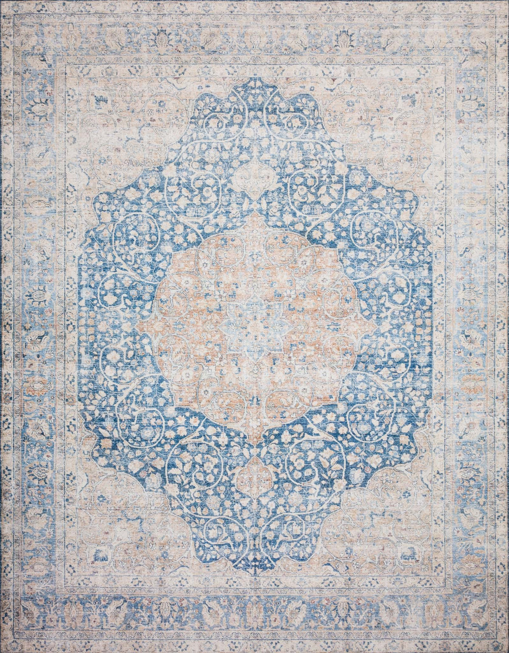 The Layla Collection is traditional and timeless, with a beautiful lived-in design that captures the spirit of an old-world rug. This traditional power-loomed rug is crafted in China of 100% polyester with a classic and sophisticated color palette and subtle patina.  Power Loomed 100% Polyester LAY-07 Blue/Tangerine