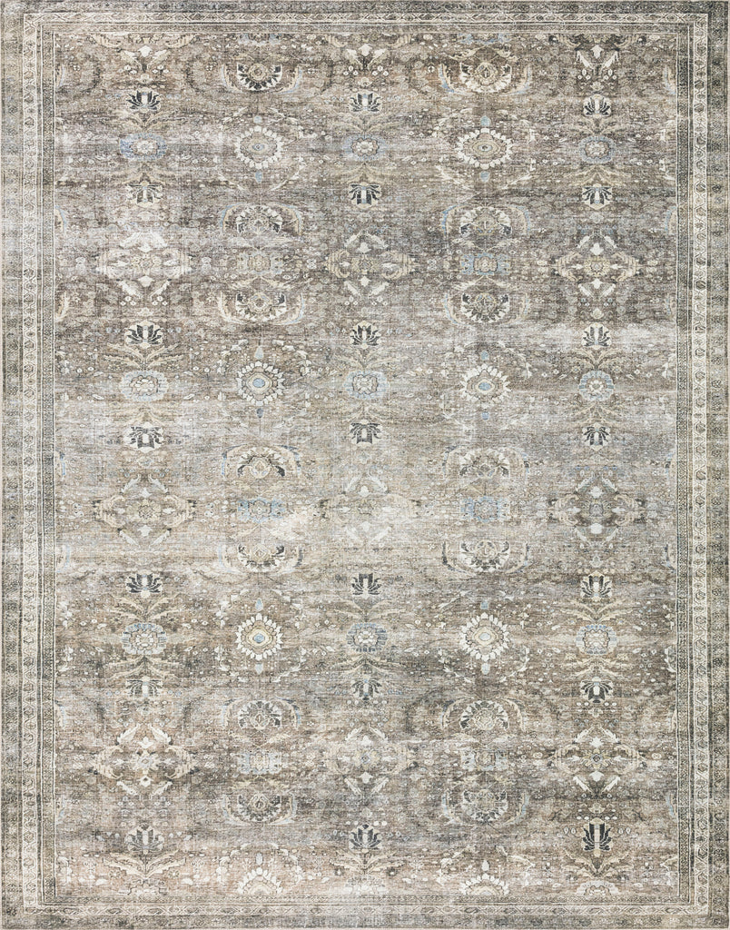 The Layla Antique / Moss area rug is traditional and timeless that captures the spirit of a vintage or antique area rug. This power-loomed rug of 100% polyester is a classic with a subtle patina of green, brown, ivory, and hints of blue. This rug is perfect for entryways, living rooms, hallways, and dining rooms.