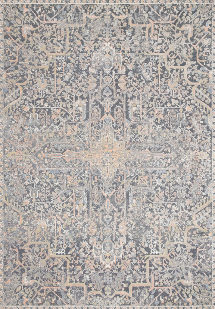Lucia Charcoal/Multi Rug - Amethyst Home The Lucia Collection is a beautifully rich statement piece to add a layer of sophistication to any room. Power-loomed of polypropylene & polyester with a high/low pile and a curated color palette for a high-end look at an affordable price.